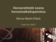 Hevosreitistöt osana matkailupalvelua - ProAgria Oulu