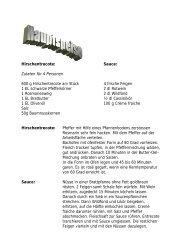 Hirschentrecote: Sauce: Zutaten  für 4 Personen 600 g ...