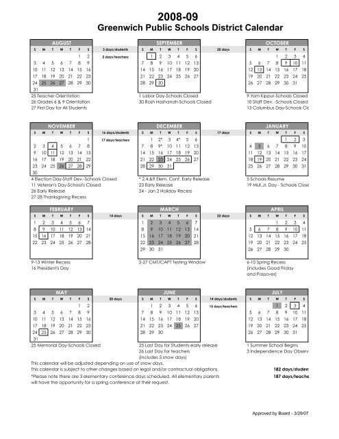 Greenwich Public Schools Calendar.2008 09 Calendar Greenwich Public Schools