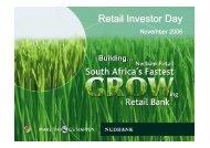 Nedbank Retail Investor Day presentations (November 2006)