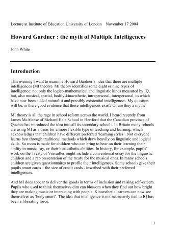 Howard Gardner The Theory Of Multiple Intelligences Essay  College  Howard Gardner The Theory Of Multiple Intelligences Essay Frequently Asked  Questionsmultiple Intelligences And Related