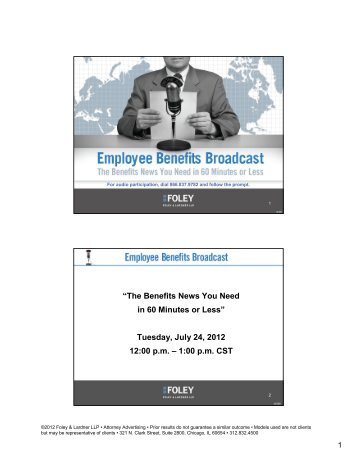 """""""The Benefits News You Need in 60 Minutes or Less ... - Foley.com"""