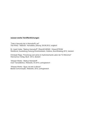 wasser-werke Veröffentlichungen - Heinsdorff, Markus