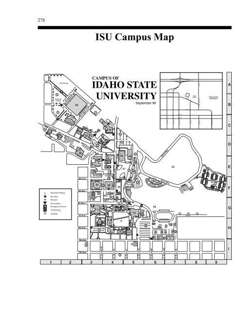 ISU Campus Map Key - Idaho State University on evergreen state university map, middle georgia state university map, florida state university map, northeastern state university map, western state university map, armstrong state university map, university of texas at austin map, university of idaho map, university of mississippi medical center map, moraine park technical college map, metropolitan state university map, long island state university map, western iowa tech community college map, black hills state university map, buffalo state university map, college of the holy cross map, boise state university campus map, boise state university interactive map, sul ross state university map, jackson state community college map,