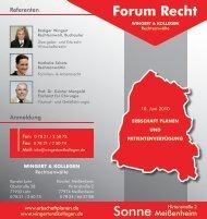 Flyer Forum Recht - 10. Juni 2010 - Erbschaft planen