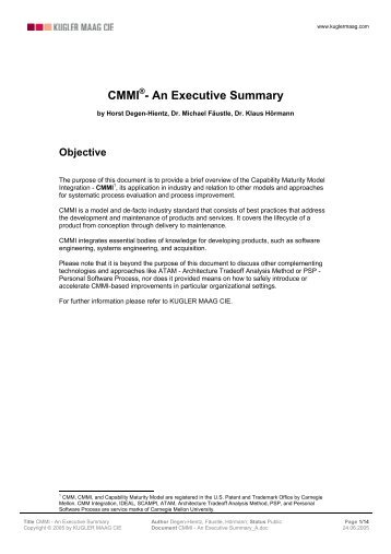 CMMI - An Executive Summary - Kugler Maag Cie
