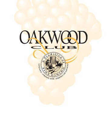 Menu - The Oakwood Club