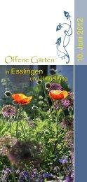 18 x in Ihrer Nähe! - Offene Gärten in Esslingen und Umgebung