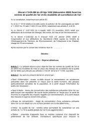 Décret n°2-09-286 du 20 hija 1430 - Département de l'environnement