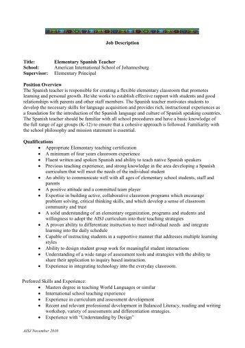 spanish teacher job description substitute teacher job