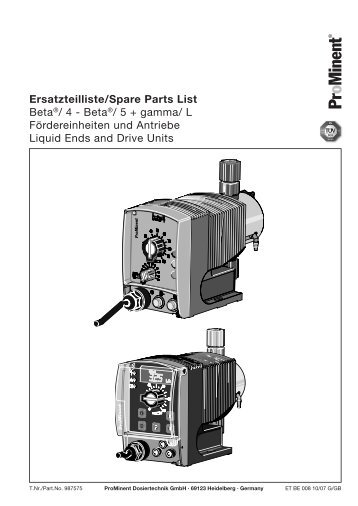 Ersatzteilliste/Spare Parts List - ProMinent
