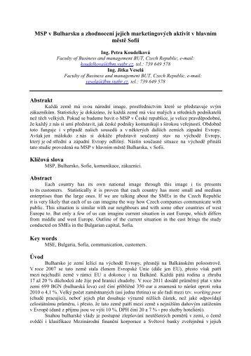 MSP v Bulharsku a zhodnocení jejich marketingových aktivit v ...