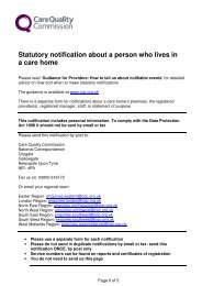 Statutory notification about a person who lives in a care home