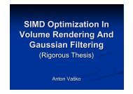 SIMD Optimization in Volume Rendering And Gaussian Filtering