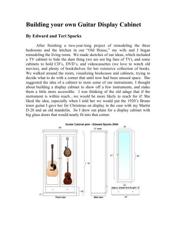 Building your own Guitar Display Cabinet By Edward and Teri Sparks