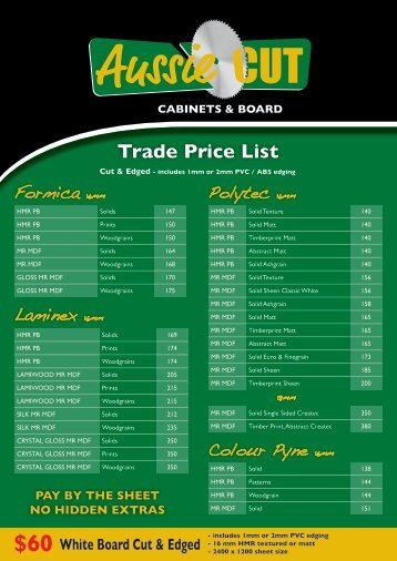 Trade Price List - Aussie Cut