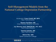 Self-Management Models from the National College Depression