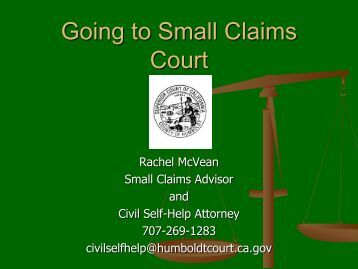 Going to Small Claims Court - Superior Court of California, County of ...