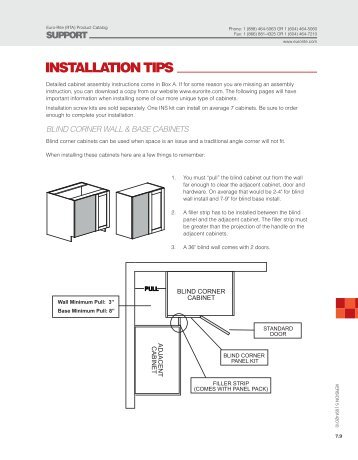 INSTALLATION TIPS - Euro-Rite Cabinets