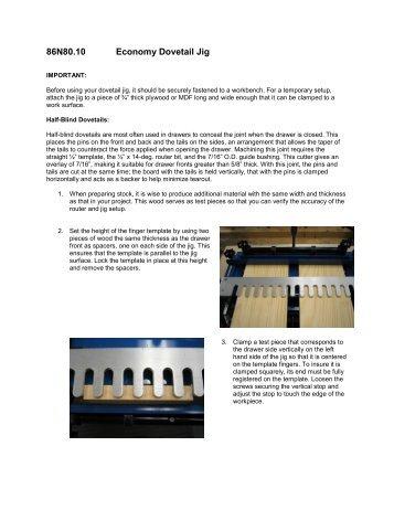 86N80.10 Economy Dovetail Jig - Lee Valley Tools