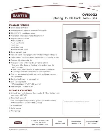Baxter oven service manual