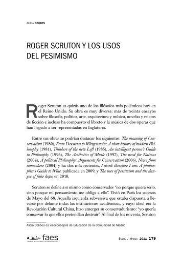 Roger Scruton y los usos del pesimismo - FAES