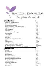 Price List. - Salon Dahlia