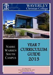 Year 7 Curriculum Guide 2013 - Waverley Christian College