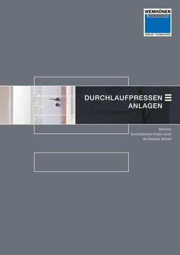 Durchlaufpressen Anlagen - Heinrich Wemhöner GmbH & Co. KG