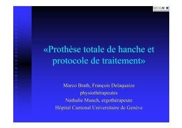 «Prothèse totale de hanche et protocole de traitement»