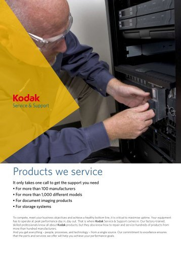 Products we service - Kodak