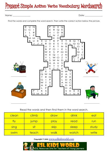 action verbs present simple wordsearch esl kids world