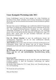 Unser Kompakt-Workshop-Jahr 2011