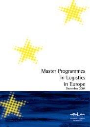Master Programmes in Logistics in - European Logistics Association