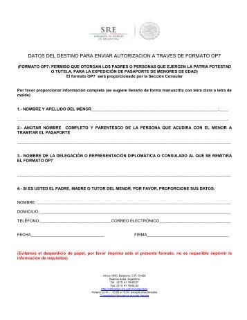 formato datos del destino para enviar autorizacion op7