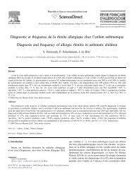 Diagnostic et fréquence de la rhinite allergique chez l'enfant ...