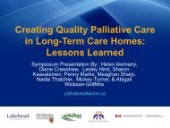 Lessons Learned - Quality Palliative Care in Long Term Care