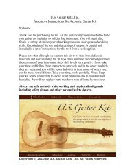 U.S. Guitar Kits, Inc. Assembly Instructions for Acoustic Guitar Kit