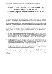 Auswertung der Umfrage zur Zusammenarbeit der Grund- und ...