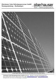 Oberhauser Solar Befestigungssysteme GmbH Montageanleitung ...