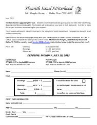 Order Form for 2013 High Holiday Booklet - Congregation Shearith ...