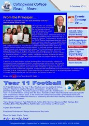 Weekly Newsletter 3 October 2012 - Collingwood College