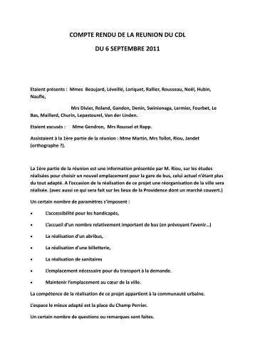 Compte rendu de réunion du 11-09-2011
