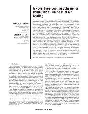 A Novel Free-Cooling Scheme for Combustion Turbine Inlet Air ...
