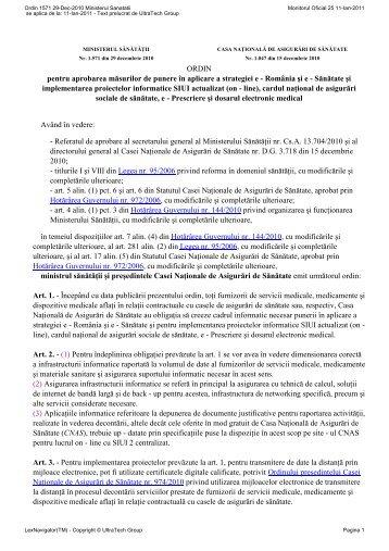 ORDIN nr. 1571 pentru aprobarea măsurilor de punere în aplicare a ...