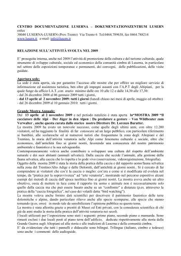 Relazione attività Centro Documentazione Luserna, anno 2009