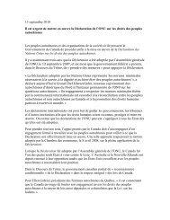 13 septembre 2010 Il est urgent de mettre en œuvre la Déclaration ...