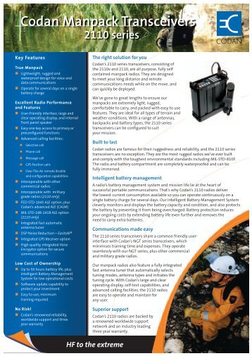Codan Manpack Transceivers - Codan, Ltd.