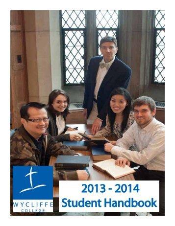 2013 - 2014 Student Handbook - Wycliffe College