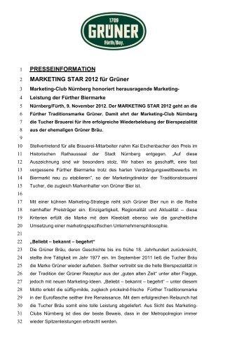 PRESSEINFORMATION MARKETING STAR 2012 für Grüner